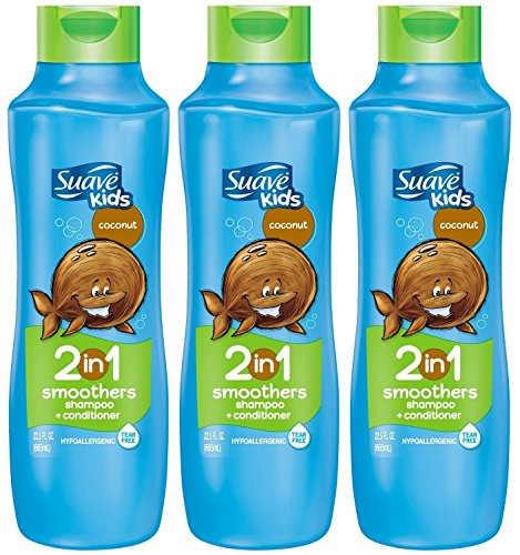 Suave Kids 2 in 1 Shampoo + Conditioner, Coconut Smoothers, 22.5 Oz (Pack of 3)