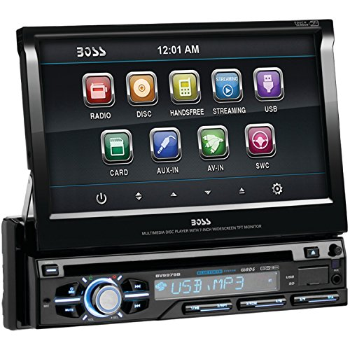 BOSS Audio BV9979B In-Dash Single-Din 7-inch Motorized Detachable Touchscreen DVD/CD/USB/SD/MP4/MP3 Player Receiver Bluetooth Streaming Bluetooth Hands-free with Remote