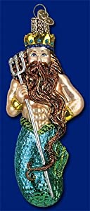 NEPTUNE King Of The Sea Merman Glass Ornament Old World Christmas