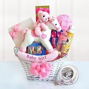 Rocking Baby Girl Newborn Gift Basket By California Delicious