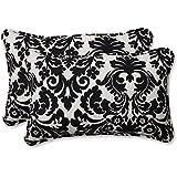 Pillow Perfect Decorative Black/Beige Damask Toss Pillows, Rectangle, 2-Pack