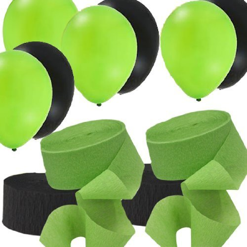 2-Green-2-Black-Rolls-Streamers-and-24-Balloons-Decorating-Kit