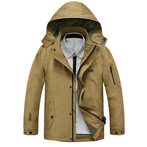 afsjeep Uomo Casual Giacche Outwear autunno 100% cotone con cappuccio 1692 Khaki Medium