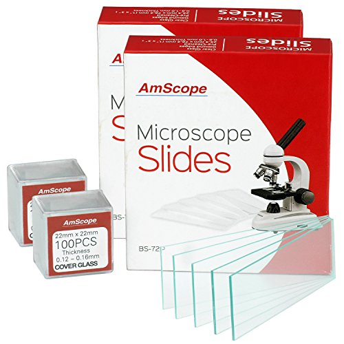 American Labs BS-144P-200S-22-A 144 Blank Microscope Slides and 200 Cover Glass Pre Cleaned – 2 Packs Ground Edges