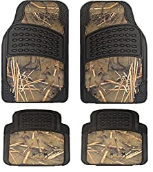 See Muddy Water Camouflage Set of 4-Piece Car Truck Floor Mat Set - Universal Fit All Weather WaterProof Rubber Material with Muddy Water Forest Pattern Black Color Details