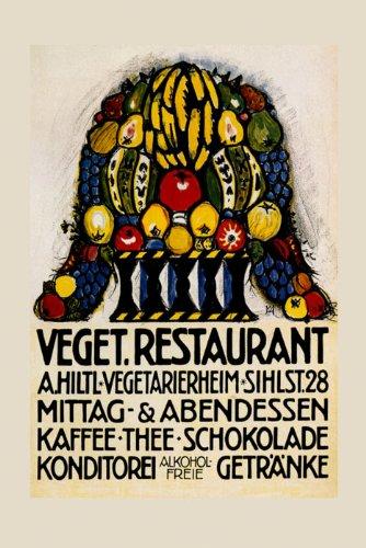 "Vegetarian Restaurants Basket Fruits Vegetables Germany German 20"" X 30"" Image Size Vintage Poster Reproduction We Have Other Sizes Available front-722164"