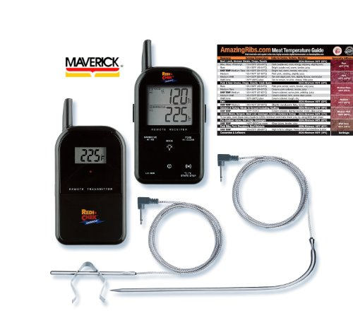 New Maverick ET732 Long Range Wireless Dual 2 Probe BBQ Smoker Meat Thermometer Set with Original Meathead Meat Temperature Magnet Guide (Black)