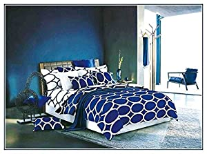 QzzieLife Microfiber Polyester 4pc Bedding Duvet Cover Sets Ring Pattern Print Royal Blue Size Queen