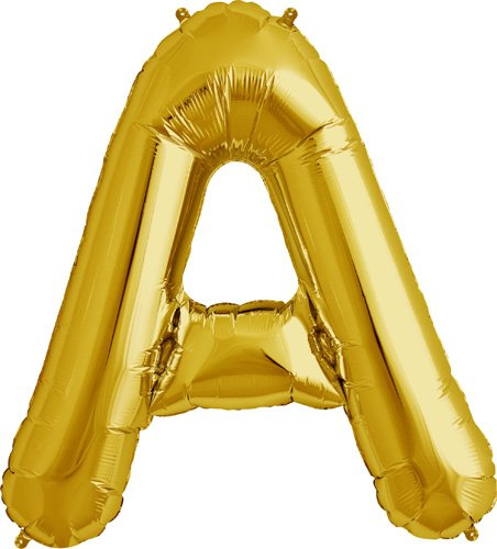 16 inch Letter A - Gold Air-Filled Foil Balloon