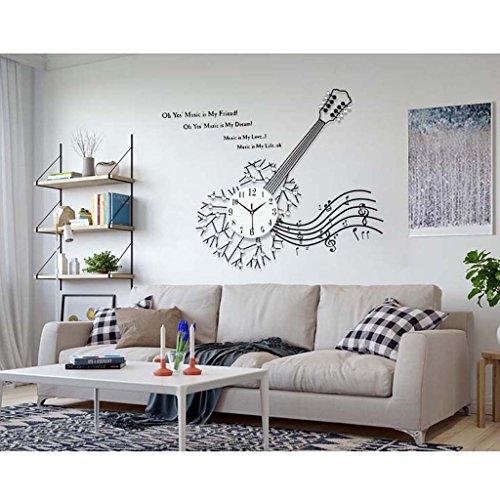 Chitarra Orologio da parete creativo grande salone Orologio Moderna minimalista decorativo del quarzo della vigilanza di modo di personalità Mute Grafici parete