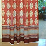 Spice Route ~ Decorative Red Orange Moroccan Tab Top Curtain 84x46