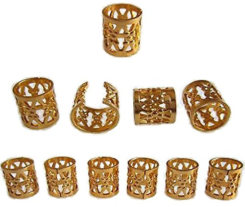 Dreadlock Beads for Hair, Braids, and Locs, 50 pieces, by Lock Love in Gold Metal Filigree Cuff for Men or Women (Hair Clips For Locs compare prices)