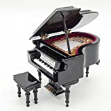 Black Miniature Chair Piano Grand Musical Instrument Collection Toy Dollhouse