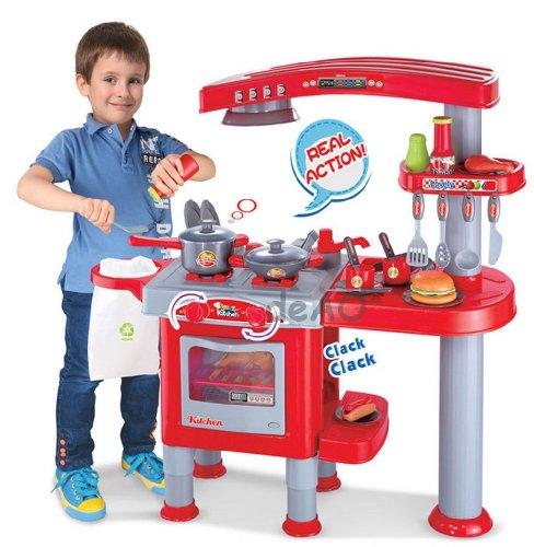 Cucina giocattolo grande per bambini con 30 accessori per giocare ai piccoli chef - rosso