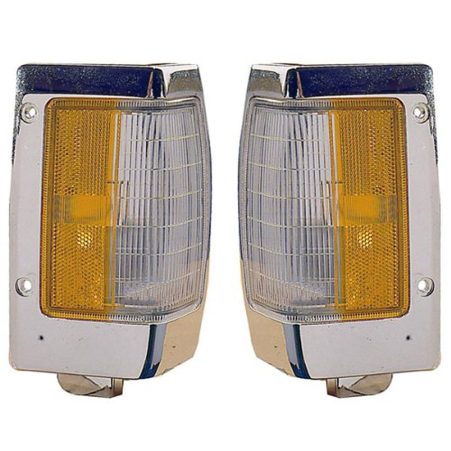 1990-1997 Nissan D21 Hardbody Pickup Truck Turn Signal Marker Lamp (with Chrome Trim) Corner Park Light Pair Set Left Driver And Right Passenger Side (1990 90 1991 91 1992 92 1993 93 1994 94 1995 95 1996 96 1997 97) (88 Nissan Pickup compare prices)