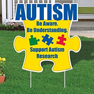"Autism Awareness Puzzle Piece ""Be Aware..."" Yard Sign 21"" x 21.5"" w/ 2 EZ Stakes"