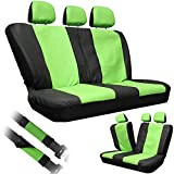 OxGord Leatherette Bench Seat Covers Universal Fit for Car Truck SUV Van, Green