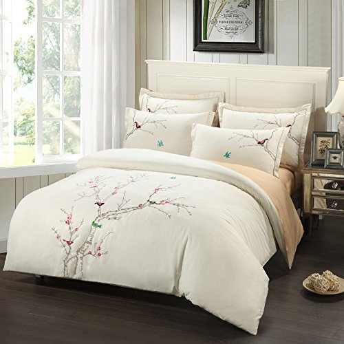 Textile Cotton Twill Denim / Chinese Elements Embroidered Wedding Bedding Set front-852066