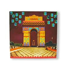 "The Bombay Store Wood & Canvas Print Wall Art - India Gate L 12"" H 12"""