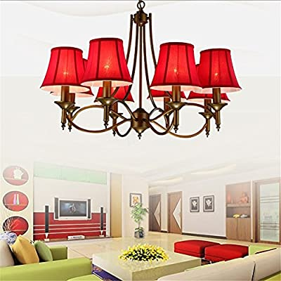 Zhy-Industrial Style Chandeliers 8 Lights E12 E14 Red Fabric Clothe Shades Retro Chandeliers For Living Bed Dinning Room Retro Lamp ,Yc1014