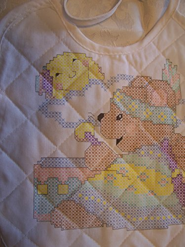 Native American Bear and Baby Stamped Cross Stitch Baby Bib - 1