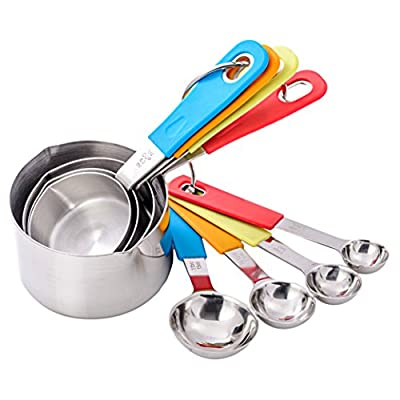 KUKPO 8-Peice Measuring Cups And Spoons Set - High Quality Stainless Steel - To Measure Dry Rations And Liquids - Cups With Spouts For Easy Pouring - Silicon Handles For Easy Grip