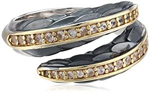 """Elizabeth and James """"Audubon"""" White Sapphire and Plated 23K Gold Feather Bypass Ring, Size 6"""