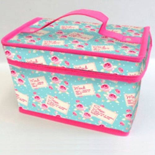 Blue Rose Retro Vintage Design Sewing Craft Arts Storage Chest Box Trunk Fold Flat