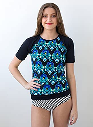 Short Sleeve India Flower Rash Guard at Amazon Women's Clothing