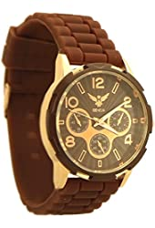Geneva Fashion style Women's Rubber Strap Watch brown and rose gold tone - 4