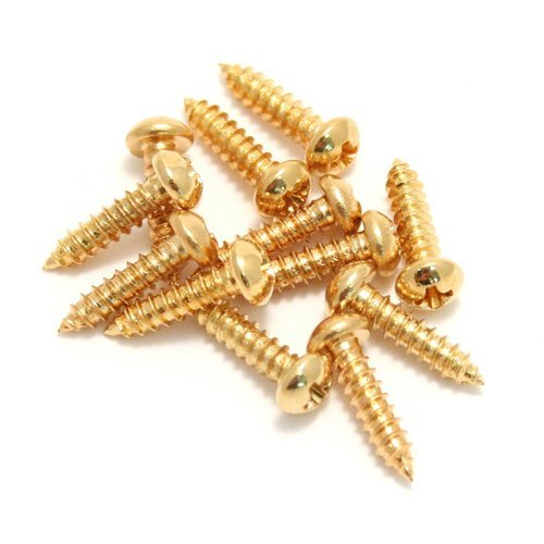 Fender 001-8823-049 Vintage-Style Stratocaster/Telecaster Tuning Machine/String Tree Mounting Screws For Electric Guitar, Gold