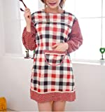 Ebuyingcity Red Grids Fashion Long Sleeves Style Antifouling Chef Housewife Home Cooking Cotton Apron Gowns Dress with Pockets
