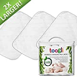 Extra Large Changing Pad Liners By Toogli (3 pk) - 35 x 18 In. Waterproof Change Table Pad Covers. Great For Travel Too.