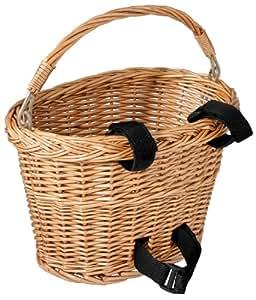Avenir Wicker Bicycle Basket with Black Velcro (8 - inch x 10 - inch x 7.5 - inch)