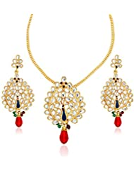 Xcite Multi-Color Stone & Enamel Peacock Shape Pendant & Earrings Set For Girls XNS252