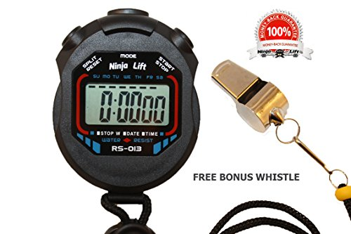 Sports and Referee Digital Stopwatch Timer with Bonus Whistle and Black Lanyard, Water Resistant, Great for Basketball, Baseball, Swimming, Running & Cross-Country, Soccer, Wrestling & More, Black (Whistle Timer compare prices)