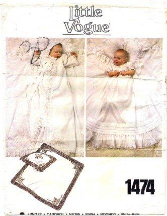 Little Vogue 1474 Sewing Pattern Christening Gown Infants Dress Coat Bonnet Pillow Sham Blanket Size Newborn - 3 Months front-85613