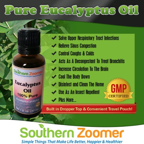 Best 100% Pure Eucalyptus Globulus Essential Oil. FREE ebook of Uses. For Aromatherapy, colds, chest rub, cough, congestion, sinus, cleaning, dust mites, joint & muscle pain, sauna, shower & more.