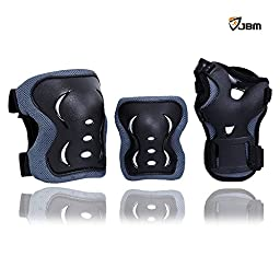 JBM Children Cycling Roller Skating Knee Elbow Wrist Protective Pads--Black / Adjustable Size, Suitable for Skateboard, Biking, Mini Bike Riding and Other Extreme Sports (Blue & Black, Child/Kids)