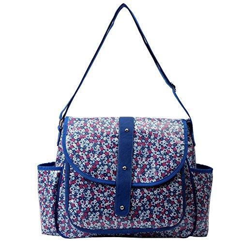 Bellotte Fashion Tote Diaper Bag, Blue Flora
