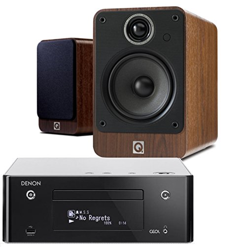 Denon CEOL RCDN9 (Black) with Q Acoustics 2020i Speakers (Walnut). 5m Speaker Cable included.