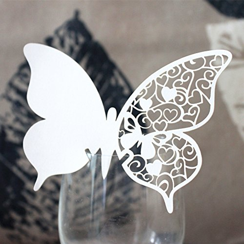 Lot de 50pcs Carte de Verre Marque Place Forme Papillon Ajouré Décoration de Table - Blanc