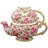 Gracie China by Coastline Imports Porcelain 3-Piece Tea Set for One, Pink/Violet