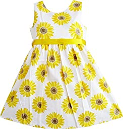 Sunny Fashion Big Girls Dress Sunflower School Party, Yellow, 7-8
