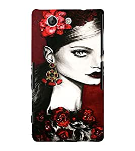 PrintVisa Beautiful Girl Art 3D Hard Polycarbonate Designer Back Case Cover for Sony Xperia Z4 Mini :: Compact