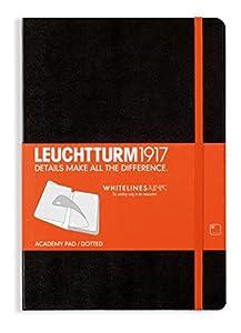 LEUCHTTURM1917 345320 Academy Block Medium (A5), Whitelines Link , 60 Bögen, 100 g/m² Papier, schwarz mit orangenem  Verschlussgummi und Lesezeichenband, dotted