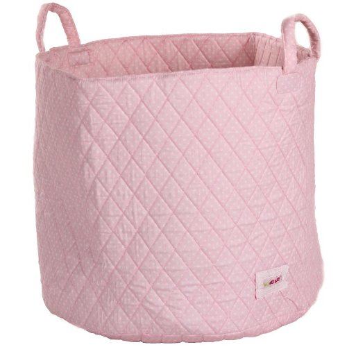 Minene Storage Basket with White Polka Dot (Large, Pink)