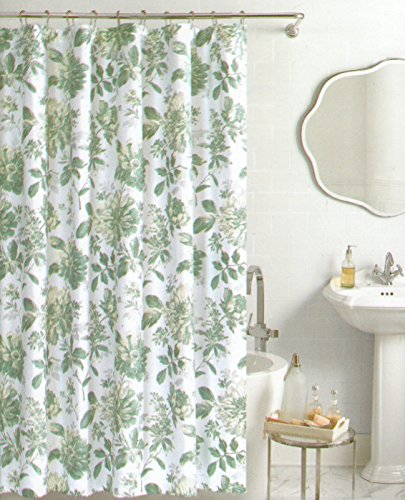 Nicole Miller Botanical Nature Fabric Shower Curtain Cotton Bland 72 Inch By Dusty Teal Silver White Floral