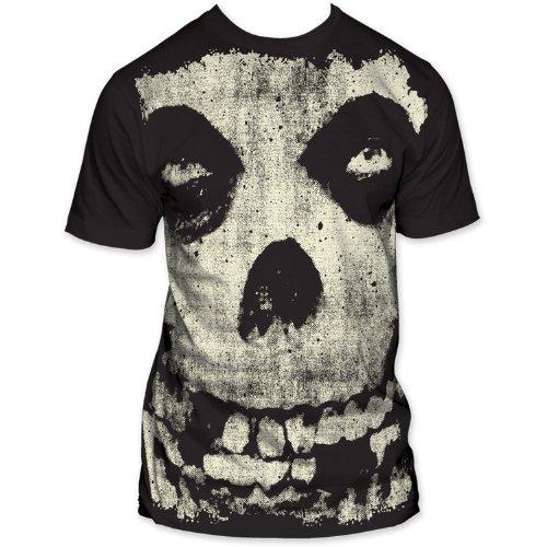 The Misfits - All-Over Misfits Skull Big Print Subway Mens T-Shirt In Coal, Size: Small, Color: Coal