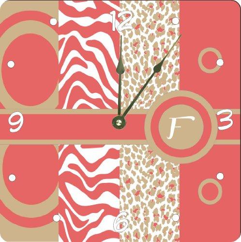 "Rikki Knighttm Letter F Monogrammed Initial Coral - Sand - Animal Prints Leopard Zebra - Spring Fashion Colors 2014 - Design 6"" Art Desk Clock front-622126"